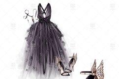 Halloween Fashion Black Dress Gold Jewelry Clip Art Product Image 3