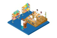Chemistry lecture isometric. Vector medical, scientists, pha Product Image 1