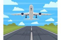 Airplane runway. Landing or taking off plane, passenger airp Product Image 1