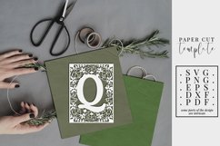Floral frame letter Q, single initial paper cut, wedding SVG Product Image 1