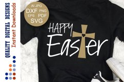 Happy Easter svg Easter shirt svg Cross clipart Product Image 1