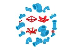 3d printing button icons set, isometric style Product Image 1
