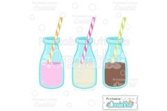 Birthday Milk Bottles SVG Cut File & Clipart