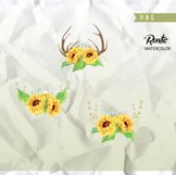 Watercolor Rustic Bouquets Sunflower with Horns & Wild Herbs Product Image 3