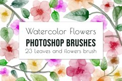 23 hand painted floral watercolor brushes for Photoshop Product Image 1