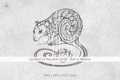 Rat SVG, Symbol of the year 2020, decorative animal clip art Product Image 2
