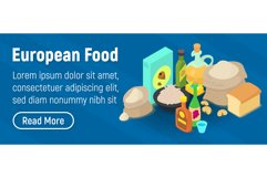 European food concept banner, isometric style Product Image 1