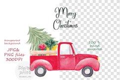 Farm fresh christmas trees, Red old farm car clipart Product Image 2