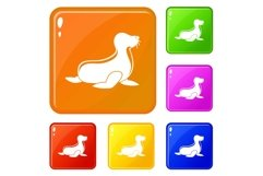 Seal icons set vector color Product Image 1