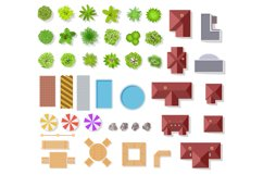 Top view garden elements. Aerial houses, green trees and bus Product Image 1