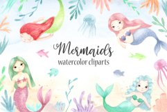 Watercolor Mermaids. Kids Cliparts and Pattern Product Image 1