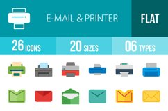 26 Email & Printer Flat Multicolor Icons Product Image 1