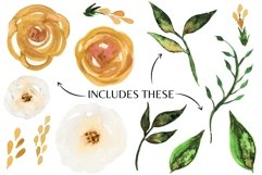 Florals in Mustard Yellow Clip Art Set Spring Sublimation Product Image 2