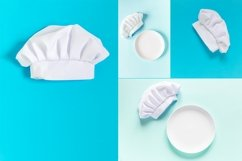 White chef hat with copy space and plates Product Image 1