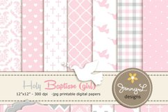 Girl Baptism Digital Papers and clipart Product Image 1