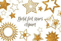 Gold stars clipart Invitation card design Gold foil stars Product Image 1