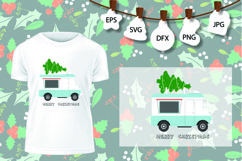 Truck tree retro vintage winter holiday svg Product Image 1