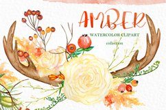 Amber forest. Fall watercolor clipart Product Image 2