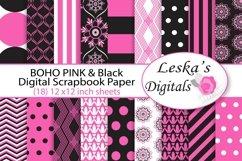 Pink and Black Digital Paper - Bohemian Product Image 1