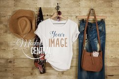 Women's Blank White Country Rustic T-Shirt Shirt JPG Mock Up Product Image 1