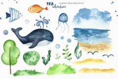Watercolor Sea adventure. Clipart, seamless patterns, cards Product Image 8