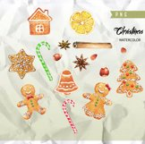Watercolor Christmas Gingerbreads, Candy Canes, Cookies Product Image 3