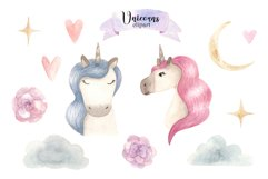 Watercolor Unicorns. Cliparts and Pattern Product Image 5