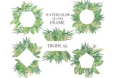 Watercolor Tropical leaves Frames Set Product Image 1