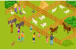 Farm animals zoo. Isometric vector livestock and people char Product Image 1