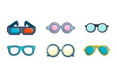 Glasses icon set, cartoon style Product Image 1