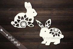 Floral Easter Bunnies set paper cut laser cut svg dxf files Product Image 1