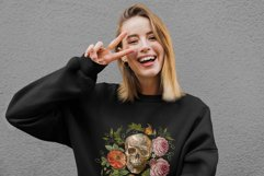 Embroidery style skull and red roses Product Image 3