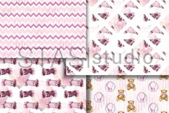 Baby Girl Paper Pack, New Baby Watercolor Seamless pattern Product Image 4