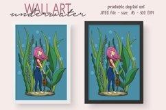 Girl Underwater Wall Decor - Printable Wall Art - Kids Room Product Image 1