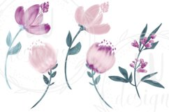 Burgundy and Pink Flowers Clipart, Floral Wedding Bouquets Product Image 3