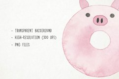 Watercolor Donuts Clipart, Animal Donuts Clipart, Doughnuts Product Image 3