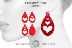 Tear drop earrings SVG, valentines jewelry, heart earrings Product Image 1