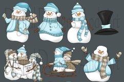 Blue snowman clipart Product Image 4