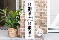 Home Sweet Home With Paw Prints SVG   Vertical Porch Sign   Product Image 1