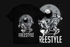Astronaut Skateboard T-Shirt Design Product Image 1