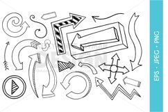 Arrow Clipart, Doodle Digital Arrows Clipart, Clip Art Set Product Image 1