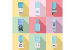 Cooler water icon set, flat style Product Image 1