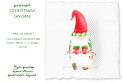 Watercolor Christmas Gnome clipart. PNG Sublimation design Product Image 2