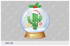 Christmas greeting card with cactus inside a snow globe. Product Image 2