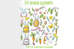 Hand drawn Easter design elements png set Product Image 3