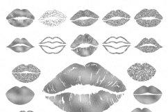 Silver Foil & Glitter Lips Kisses Makeup Lipstick PNG Product Image 2