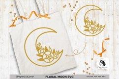 Floral Moon SVG Crescent Moon SVG Half Moon Paper Cut Boho Product Image 4