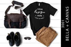Men's Heather Black Bella Canvas 3001 Mockup T-Shirt Flatlay Product Image 1