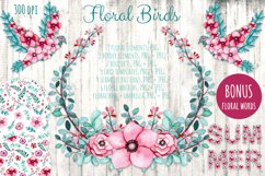 Watercolor Flowers and Birds Set Product Image 1