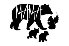 Mama Bear with baby and angel bears - SVG PNG EPS Product Image 2